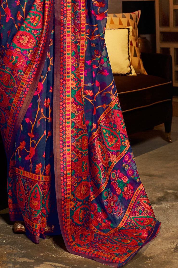 Denim Blue Banarasi Silk Saree