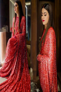 Red Color Wedding Wear Sequence Saree