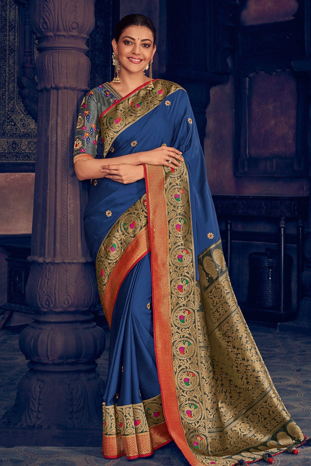 Midnight Blue Zari Woven Paithani Silk Saree