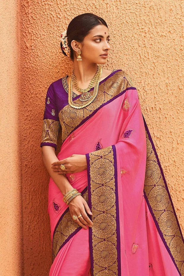 Pink Purple Paithani Silk Saree