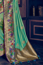 Load image into Gallery viewer, Teal green woven paithani saree