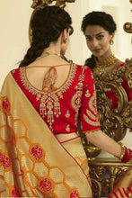 Load image into Gallery viewer, Mustard Red designer banarasi saree with embroidered silk blouse