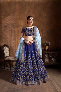 Navy Blue silk Party wear Lehenga