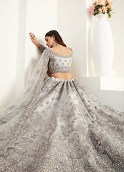 Ash Grey Net Fabric Designer Lehenga Choli With Heavy Embroidery Work