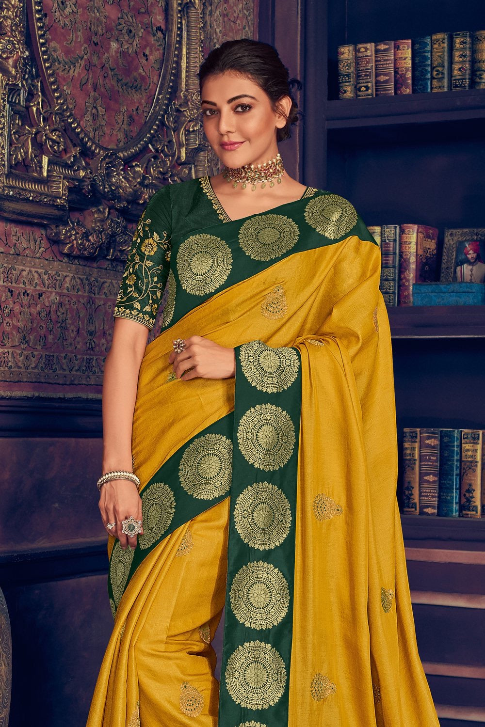 Corn yellow woven paithani saree