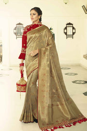 Antique gold designer banarasi saree with embroidered silk blouse
