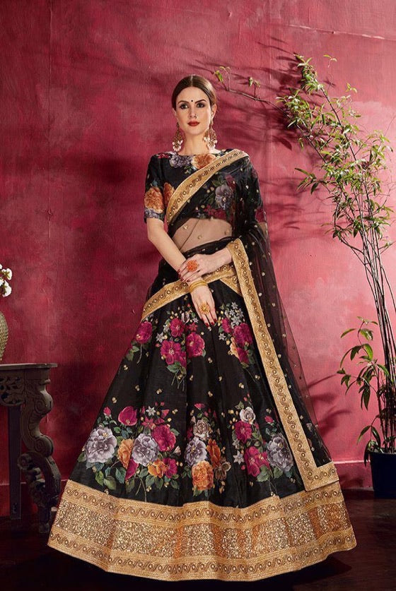 Beautiful Black Floral Silk Lehenga To Celebrate Weddings..