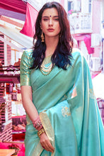 Load image into Gallery viewer, Sky blue zari woven beautiful Banarasi  Silk Saree
