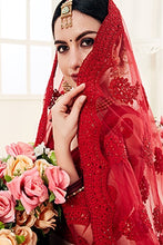 Load image into Gallery viewer, Red Designer Lehenga Choli With Heavy Embroidery W