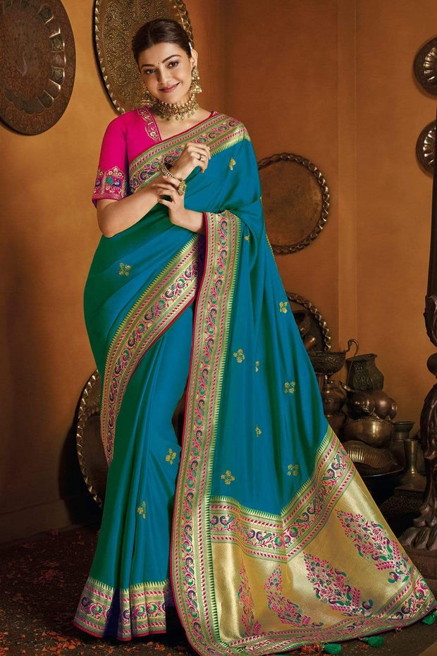 Teal Blue Zari  Woven Paithani Silk Saree