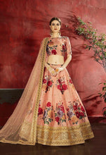 Load image into Gallery viewer, Beautiful Peach  Floral Silk Lehenga to celebrate Wedding..