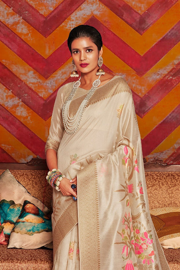 Antique White Woven Chanderi - Banarasi Fusion Saree