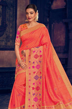 Load image into Gallery viewer, Coral peach woven paithani saree