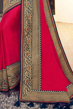 Load image into Gallery viewer, Beautiful Cardinal Red Zari Woven Silk Saree