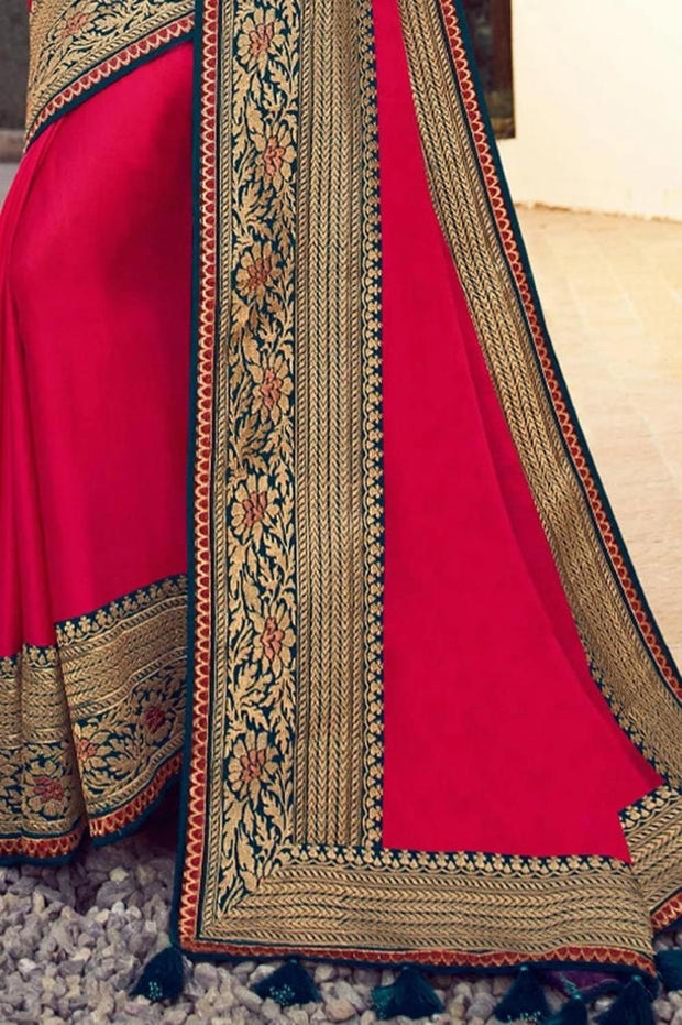 Beautiful Cardinal Red Zari Woven Silk Saree