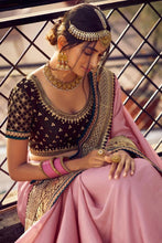 Load image into Gallery viewer, Stunning Sunset Pink Zari Woven South Silk Saree.