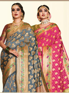 Exclusive Zari woven Soft Banarsi silk party wear saree