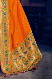 Carrot orange woven paithani saree