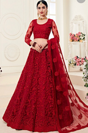 Red Embroidery Party wear Lehenga