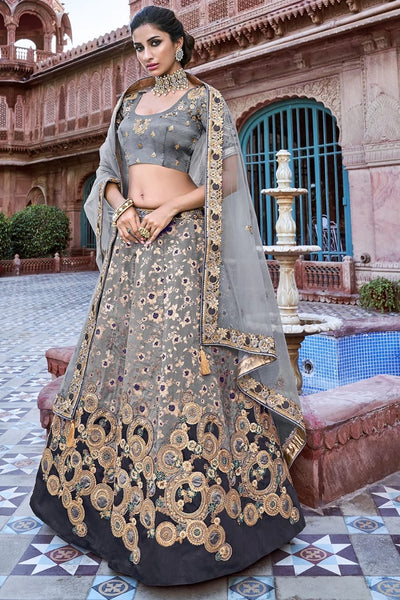 STORMY GREY EMBROIDERED SILK LEHENGA WITH EMBROIDERED BLOUSE AND NET DUPATTA
