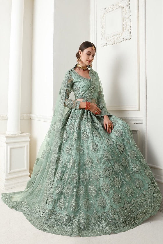 Light green Designer Lehenga Choli With Heavy Embroidery W