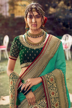 Load image into Gallery viewer, Stunning Emerald Green Zari Woven Silk Saree