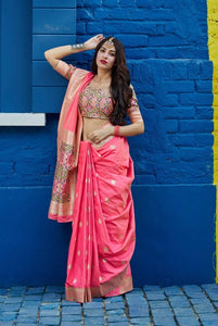 Pink Soft Silk Banarasi Saree