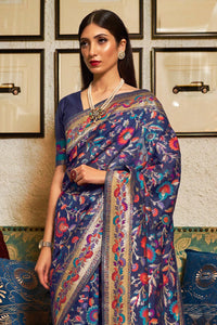 Space Blue Banarasi Silk Saree