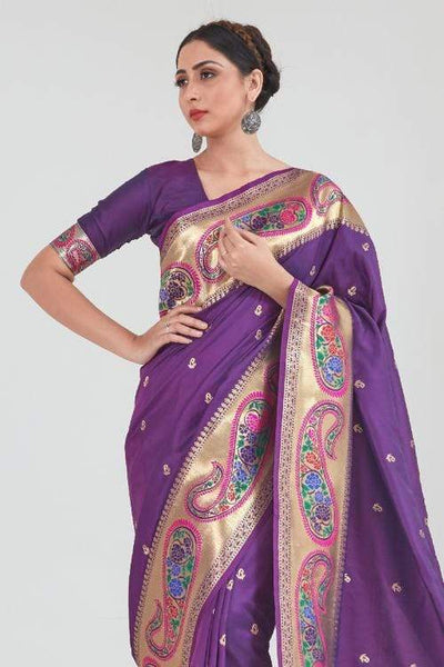Berry Purple Zari  Woven Paithani Silk Saree