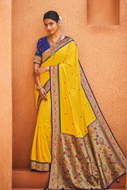 Yellow Blue Zari  Woven Paithani Silk Saree