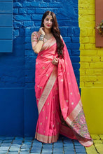 Load image into Gallery viewer, Pink Soft Silk Banarasi Saree