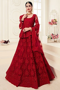 Red Designer Lehenga Choli With Heavy Embroidery W