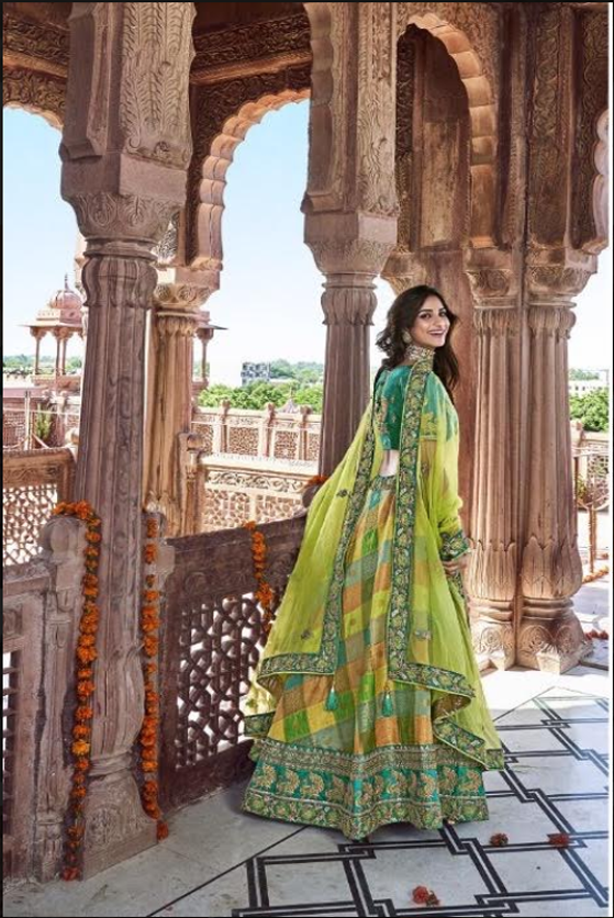 SHADES OF GREEN EMBROIDERED SILK LEHENGA WITH EMBROIDERED BLOUSE AND DUPATTA