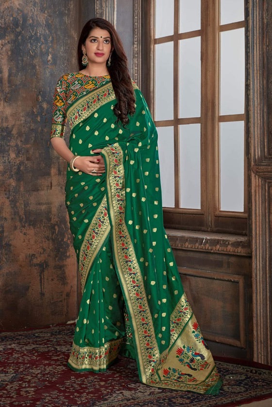 Dark Green Paithani Patola Silk Saree