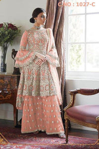 Peach Designer Net Palazzo Dress