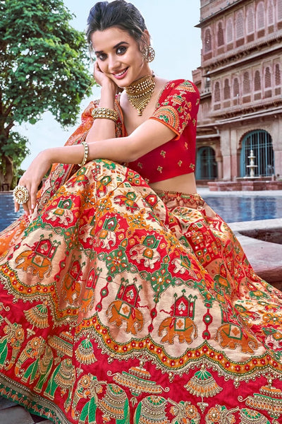 RED,ORANGE EMBROIDERED SILK LEHENGA WITH EMBROIDERED BLOUSE AND DUPATTA