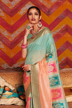 Load image into Gallery viewer, Sky blue and melon orange woven Chanderi - banarasi fusion saree