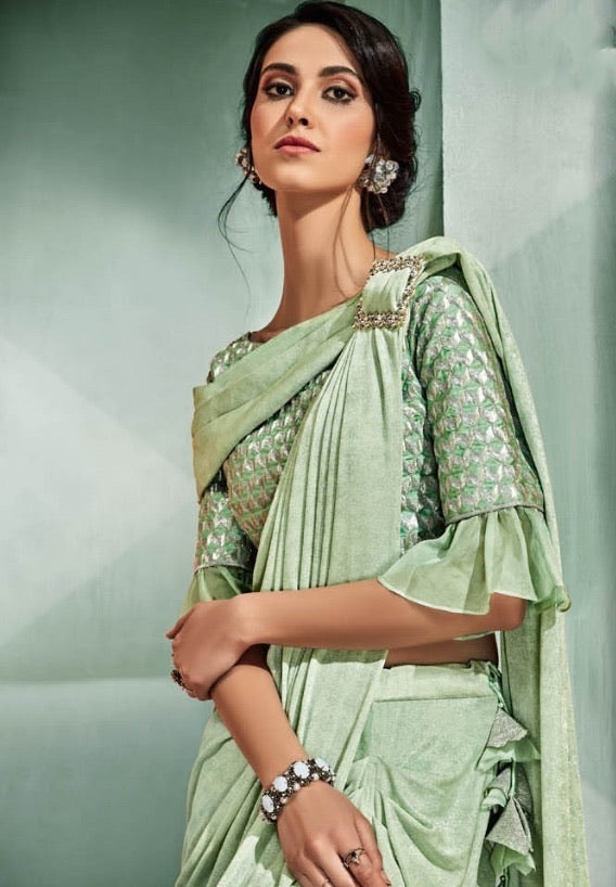 Stunning pastel Green Readymade saree to make you look classy