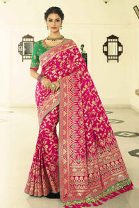 Bridal pink designer banarasi saree with embroidered silk blouse