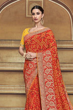 Load image into Gallery viewer, BRIDAL RED WOVEN PATOLA SAREE WITH BANARASI BORDER AND DESIGNER EMBROIDERED BLOUSE