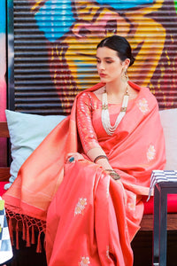 Coral pink zari woven beautiful Banarsi  Silk Saree