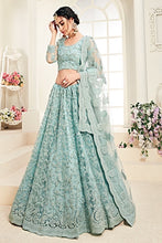 Load image into Gallery viewer, Light blue Designer Lehenga Choli With Heavy Embroidery W