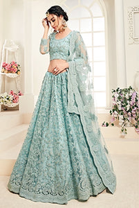 Light blue Designer Lehenga Choli With Heavy Embroidery W
