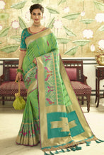 Load image into Gallery viewer, Green  designer banarasi Patola saree with embroidered silk blouse