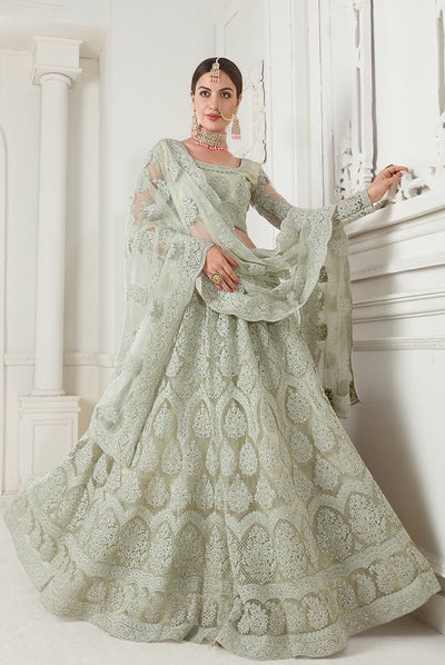 Mint Green Designer Lehenga Choli With Heavy Embroidery W