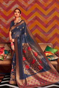 Space blue woven Chanderi - banarasi fusion saree