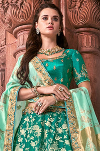 MINT GREEN  EMBROIDERED SILK LEHENGA WITH EMBROIDERED BLOUSE AND DUPATTA