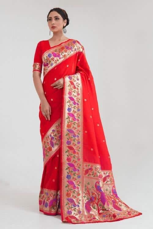 Red Zari Woven Paithani Silk Saree