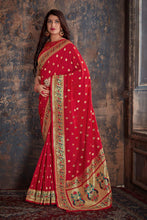 Load image into Gallery viewer, Red Paithani Patola Silk Saree