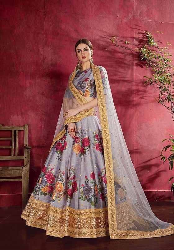 Beautiful Ash Floral Silk Lehenga to celebrate Wedding..